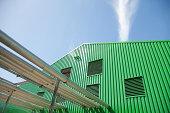 Warehouse against blue sky