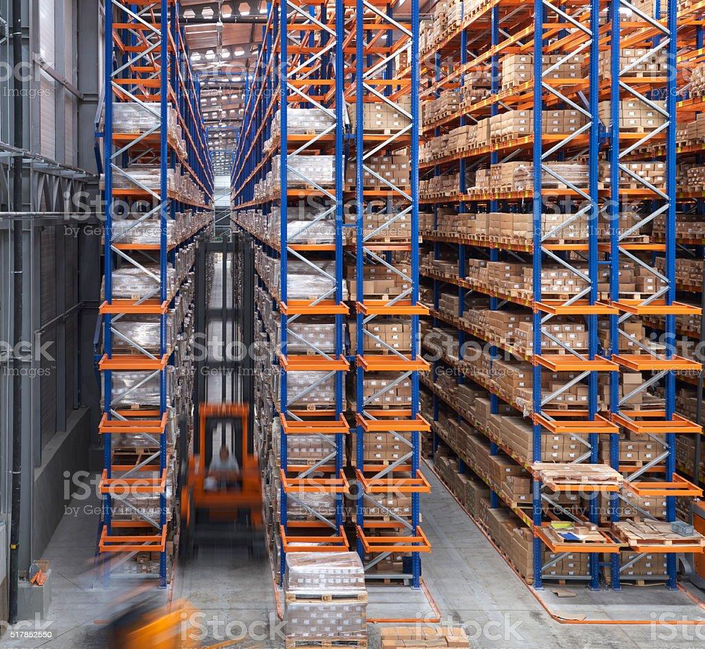 Warehouse aisle stock photo