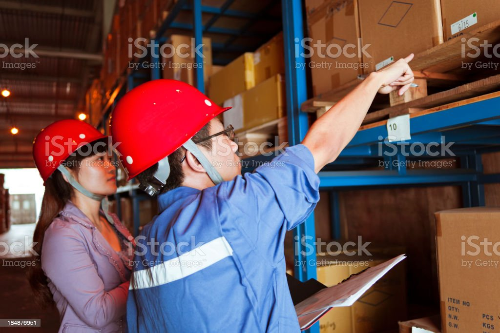 Warehouse Business Person Pointing Cargo Number royalty-free stock photo