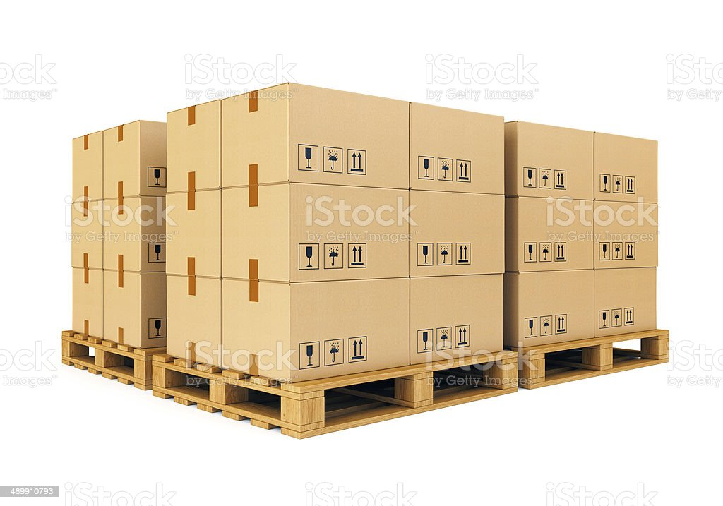 Warehouse: cardboard boxes on pallets stock photo