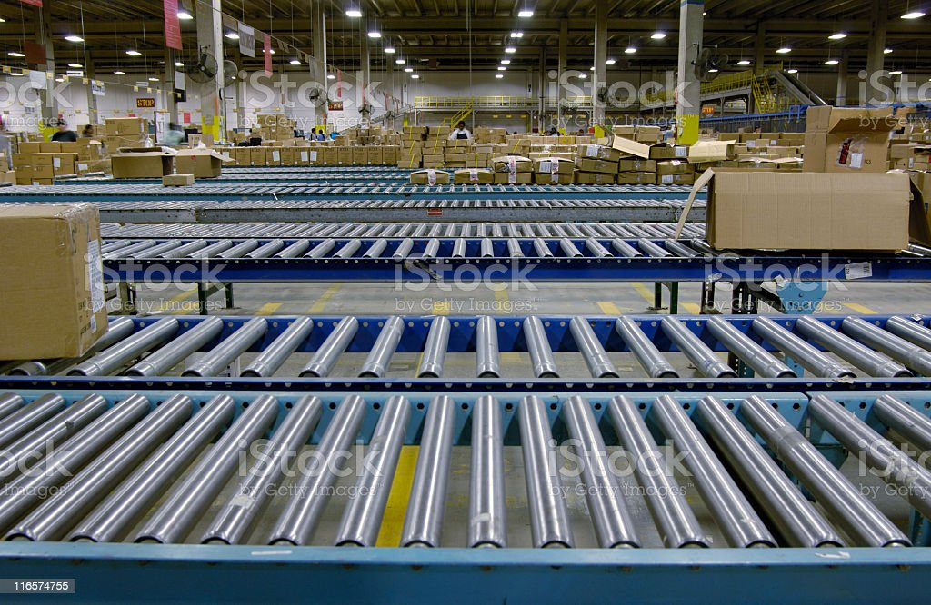 Warehouse conveyor stock photo