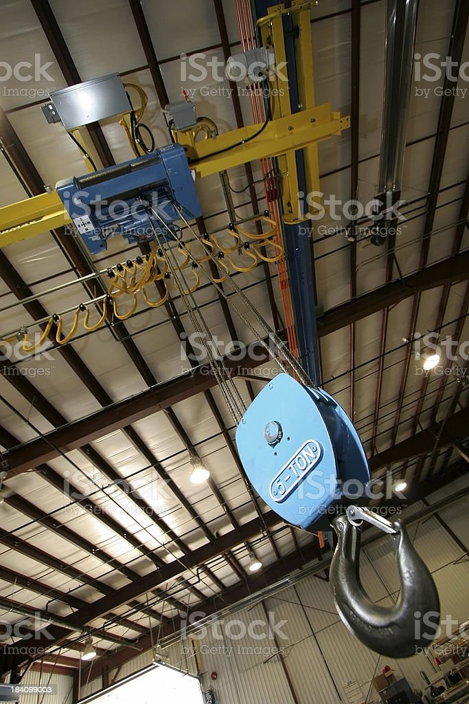 Warehouse crane hook. stock photo