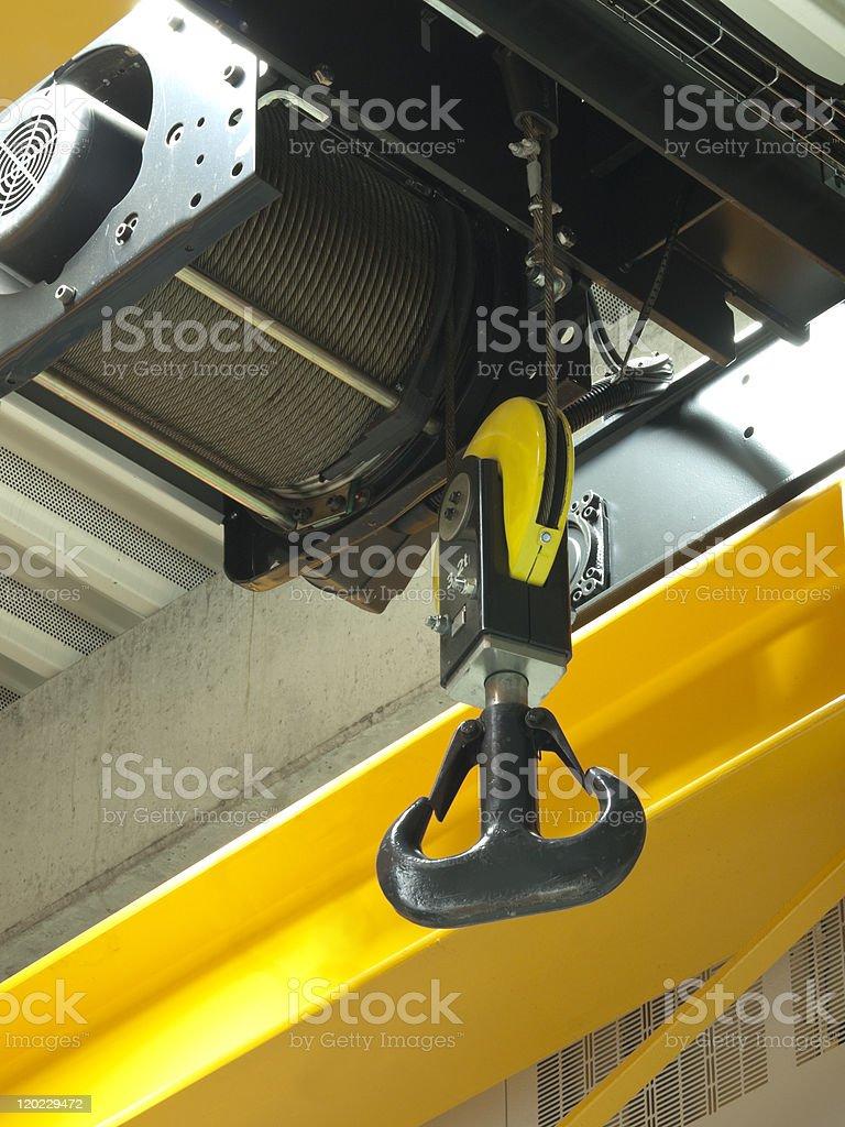 Warehouse crane. New installed stock photo