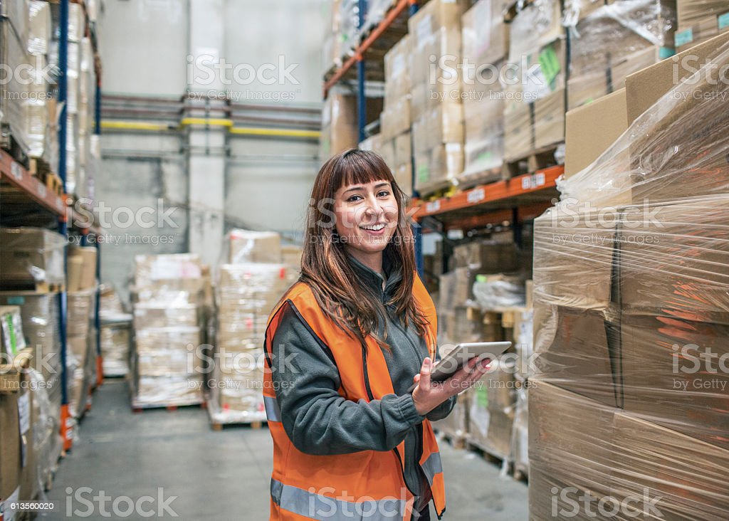 Warehouse delivery check stock photo