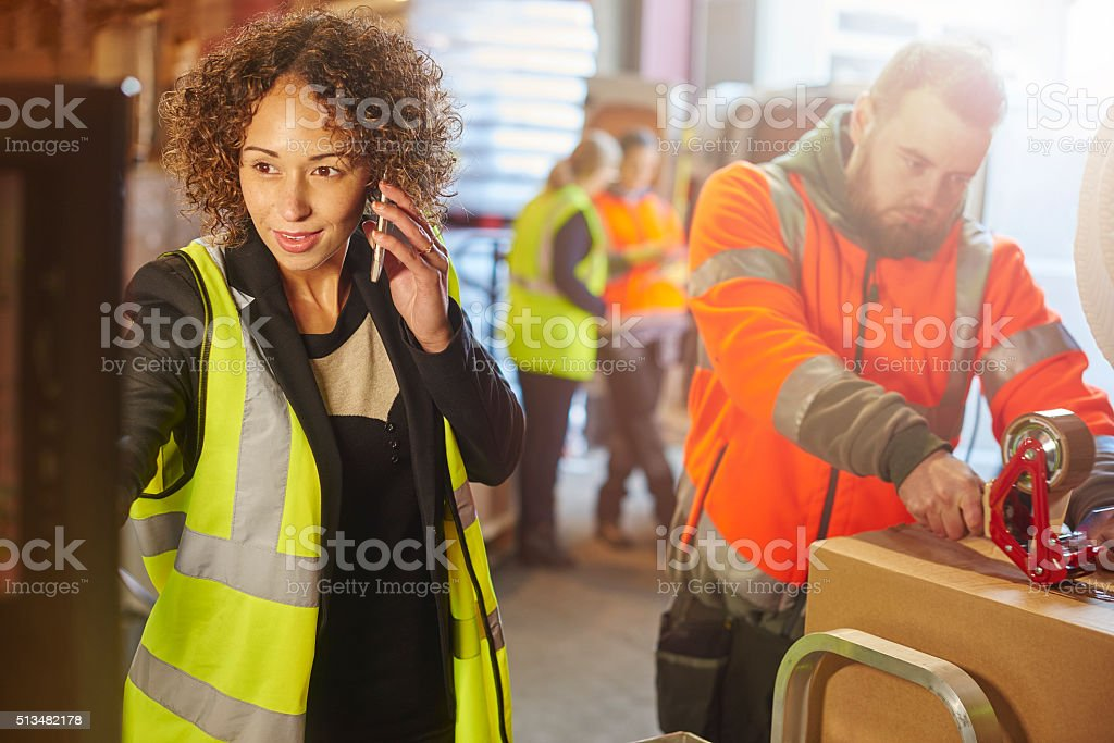 warehouse despatch manager stock photo