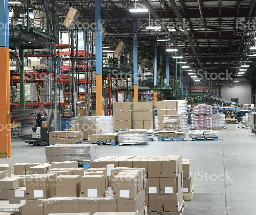 Warehouse distribution center in operation. stock photo