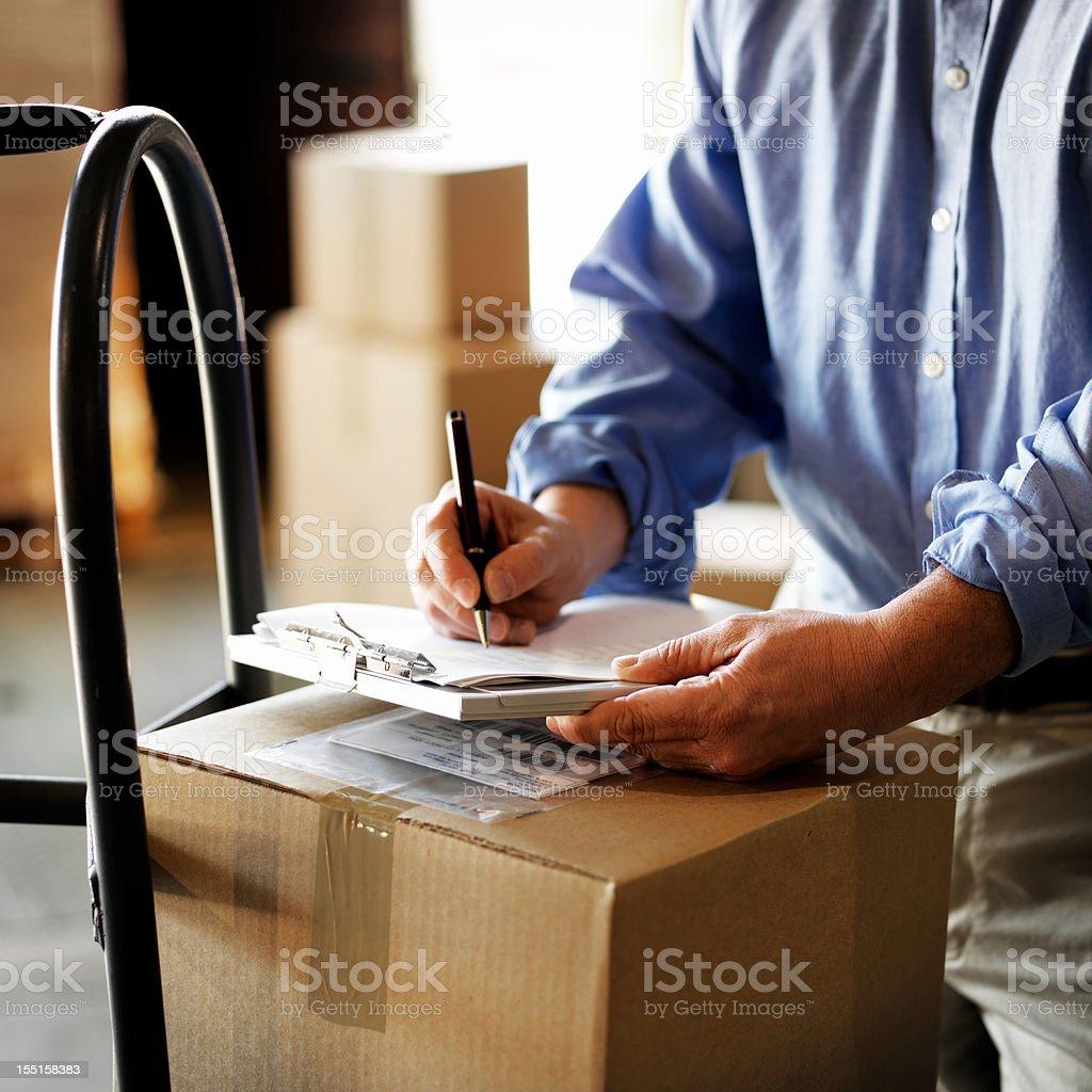 Warehouse Documents Checklist stock photo