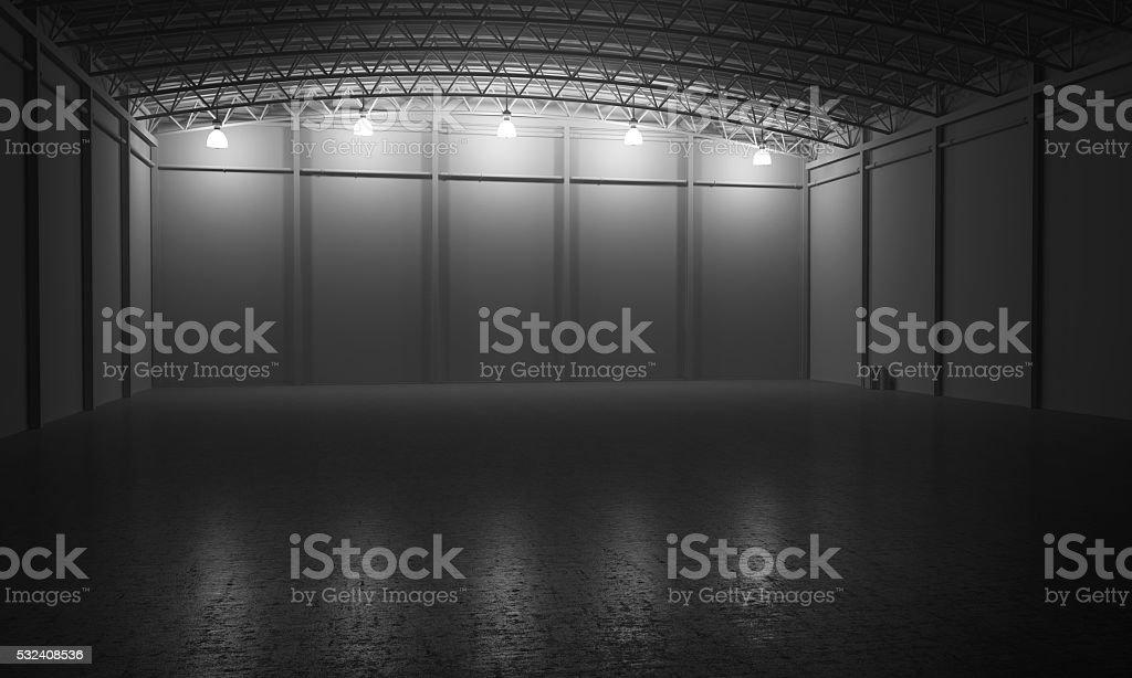 Warehouse empty dark car showroom 3D rendering stock photo