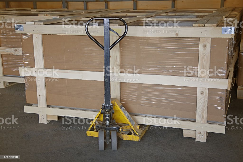 Warehouse full of pallets royalty-free stock photo