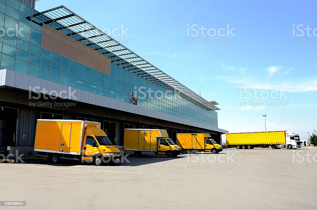 Warehouse gate and truck loading stock photo