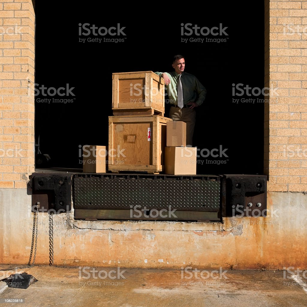 Warehouse Loading Dock with Crates royalty-free stock photo
