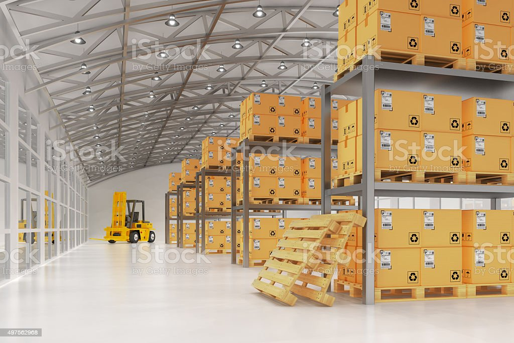 Warehouse logistics, packages shipment, delivery and loading concept stock photo