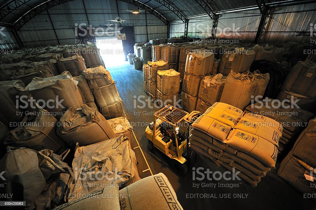 Warehouse of bags full of coffee, Minas Gerais, Brazil stock photo