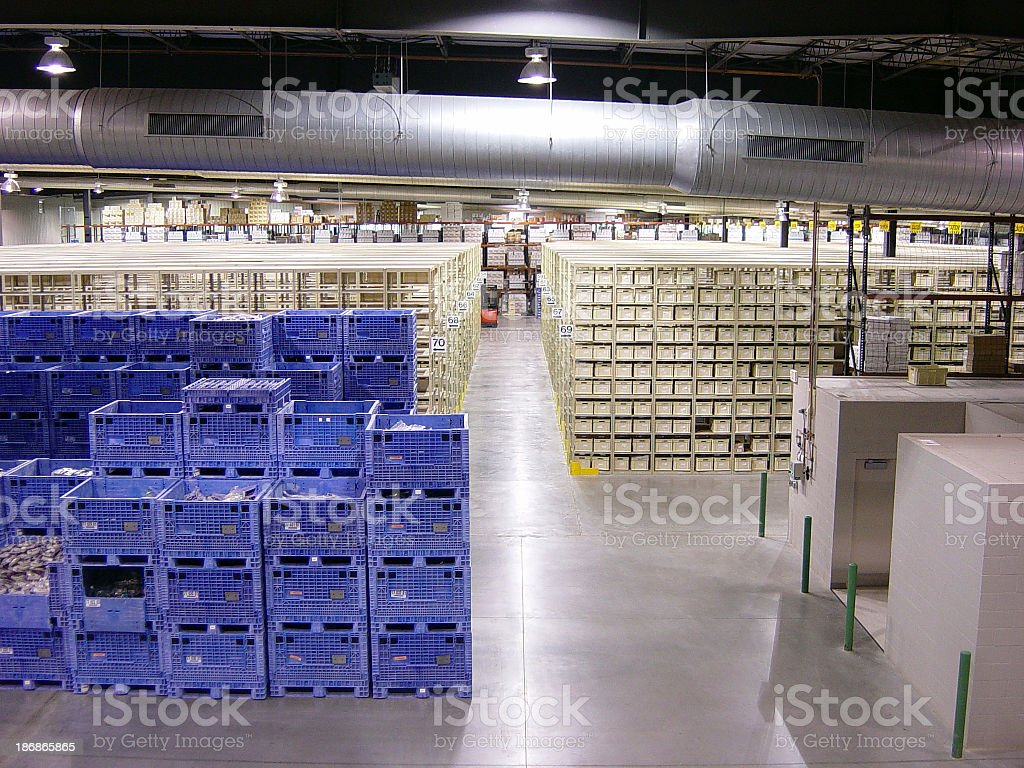 Warehouse of neatly stacked inventory royalty-free stock photo