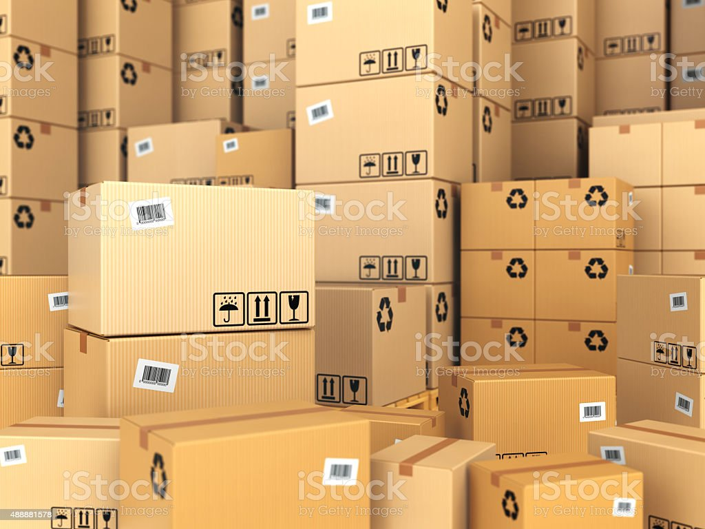 Warehouse or delivery concept. Cardboard boxes background. stock photo