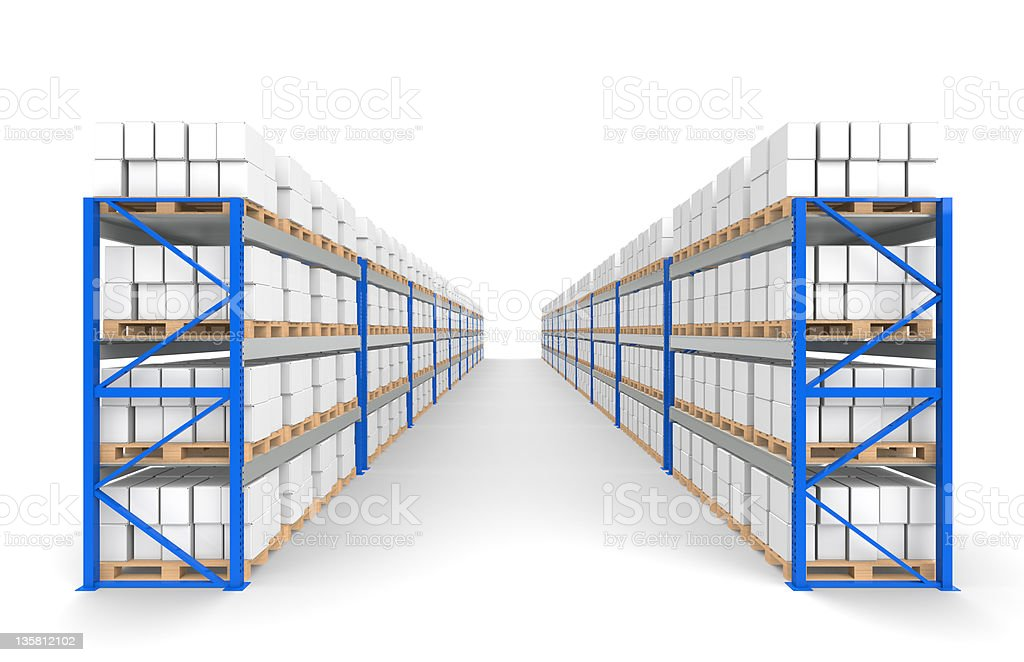 Warehouse Shelves 2 rows. royalty-free stock photo