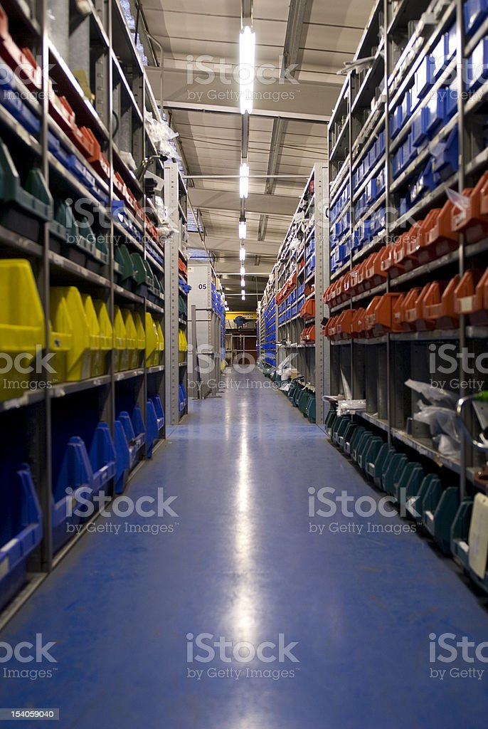 warehouse storage for small parts stock photo