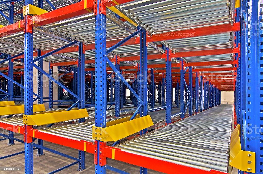 Warehouse storage, rack systems stock photo