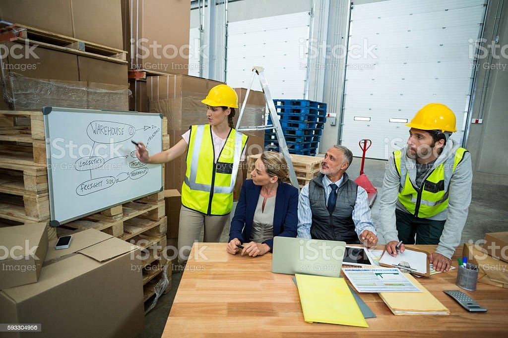 Warehouse team having a meeting stock photo