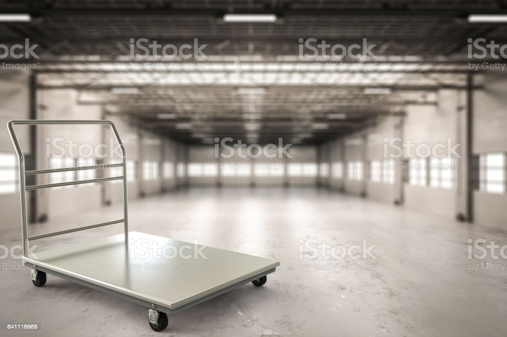 warehouse trolley in factory stock photo