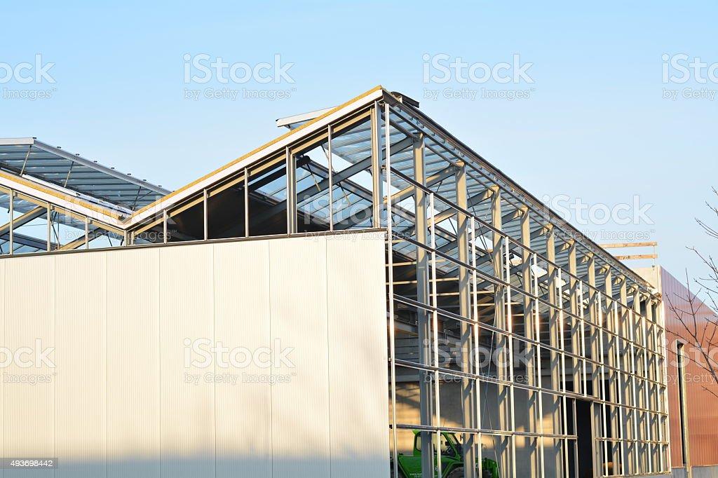 warehouse under construction stock photo