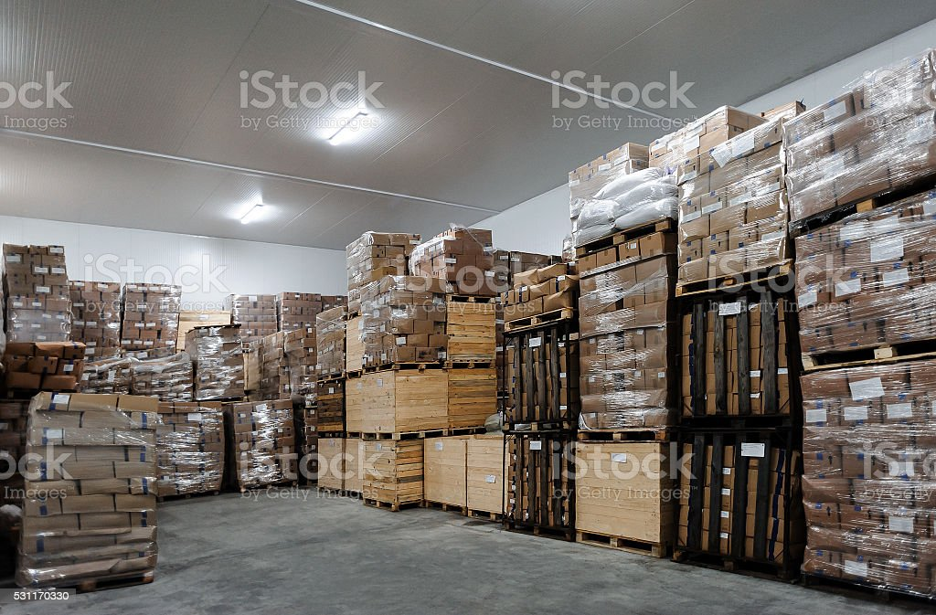 warehouse with boxes stock photo