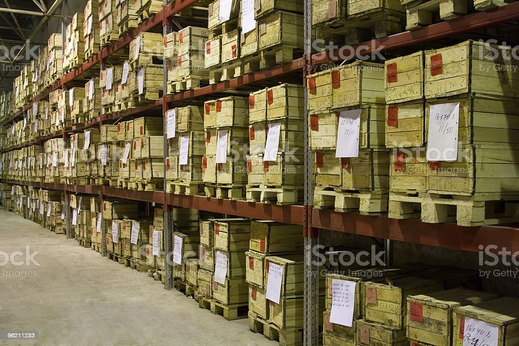 Warehouse with boxes royalty-free stock photo