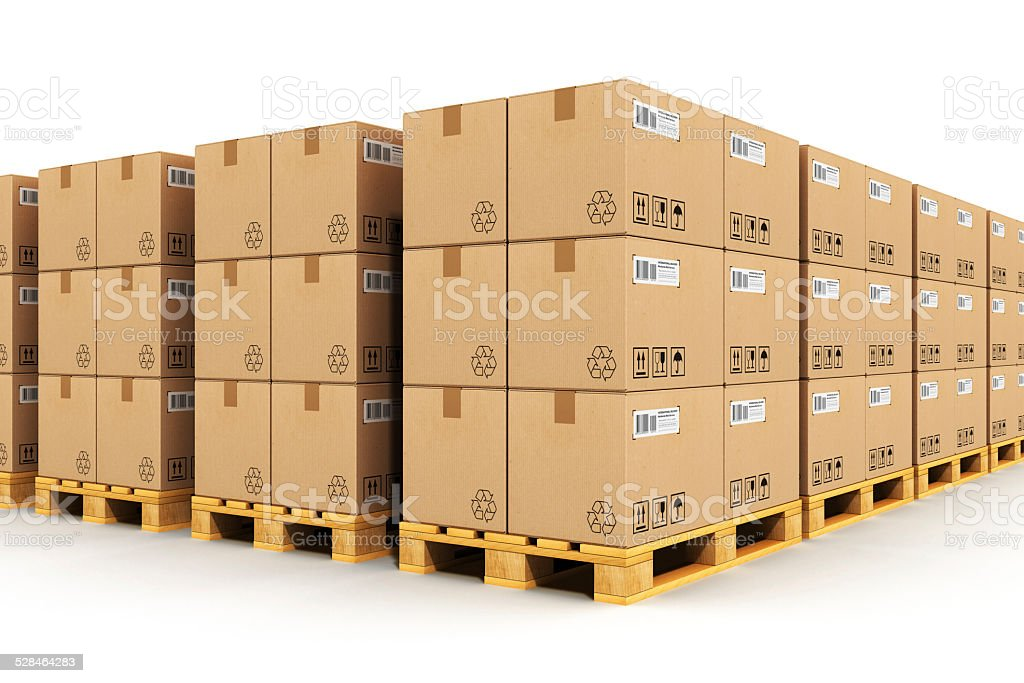 Warehouse with cardbaord boxes on shipping pallets stock photo