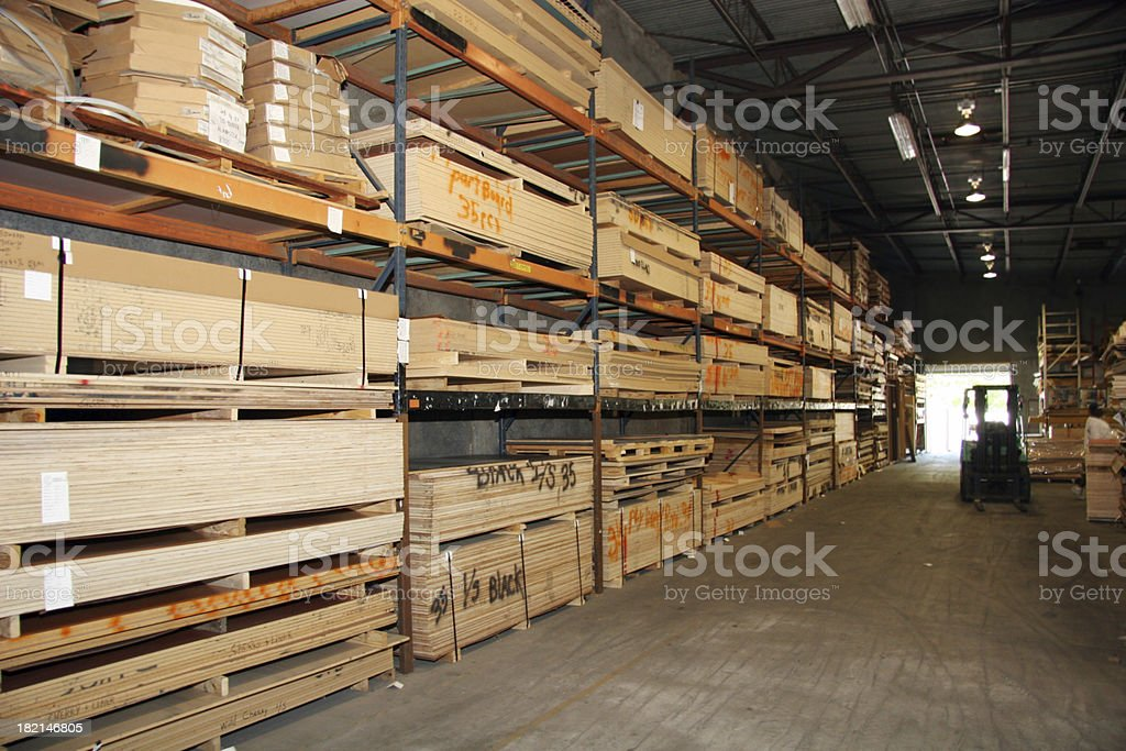 Warehouse with Fork Lift stock photo