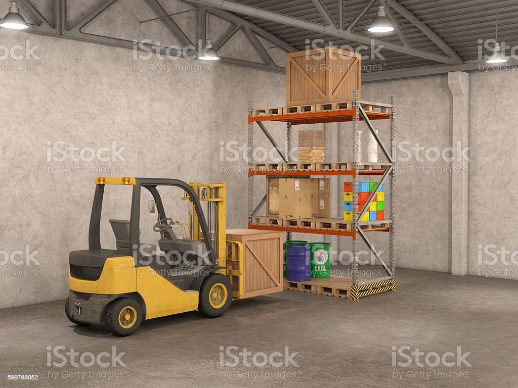 warehouse with loader, 3d illustration stock photo