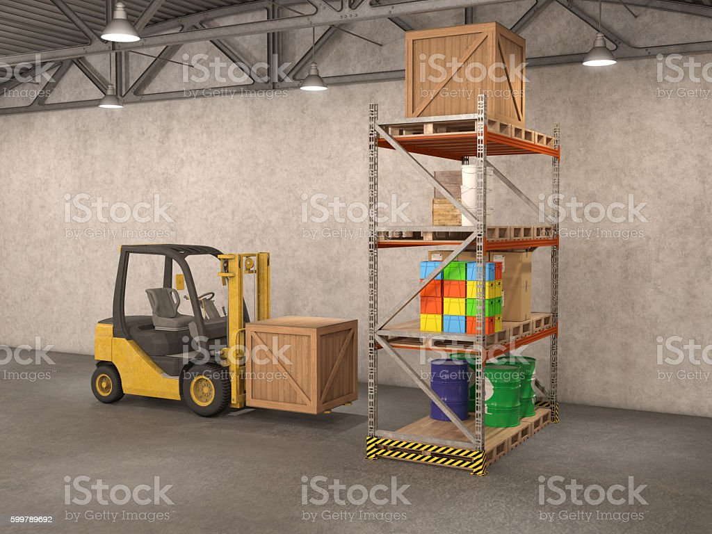 warehouse with loader, stock photo