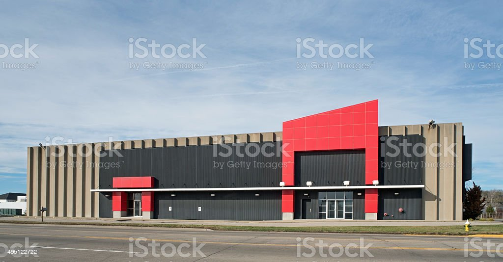 Warehouse with Red Accents stock photo