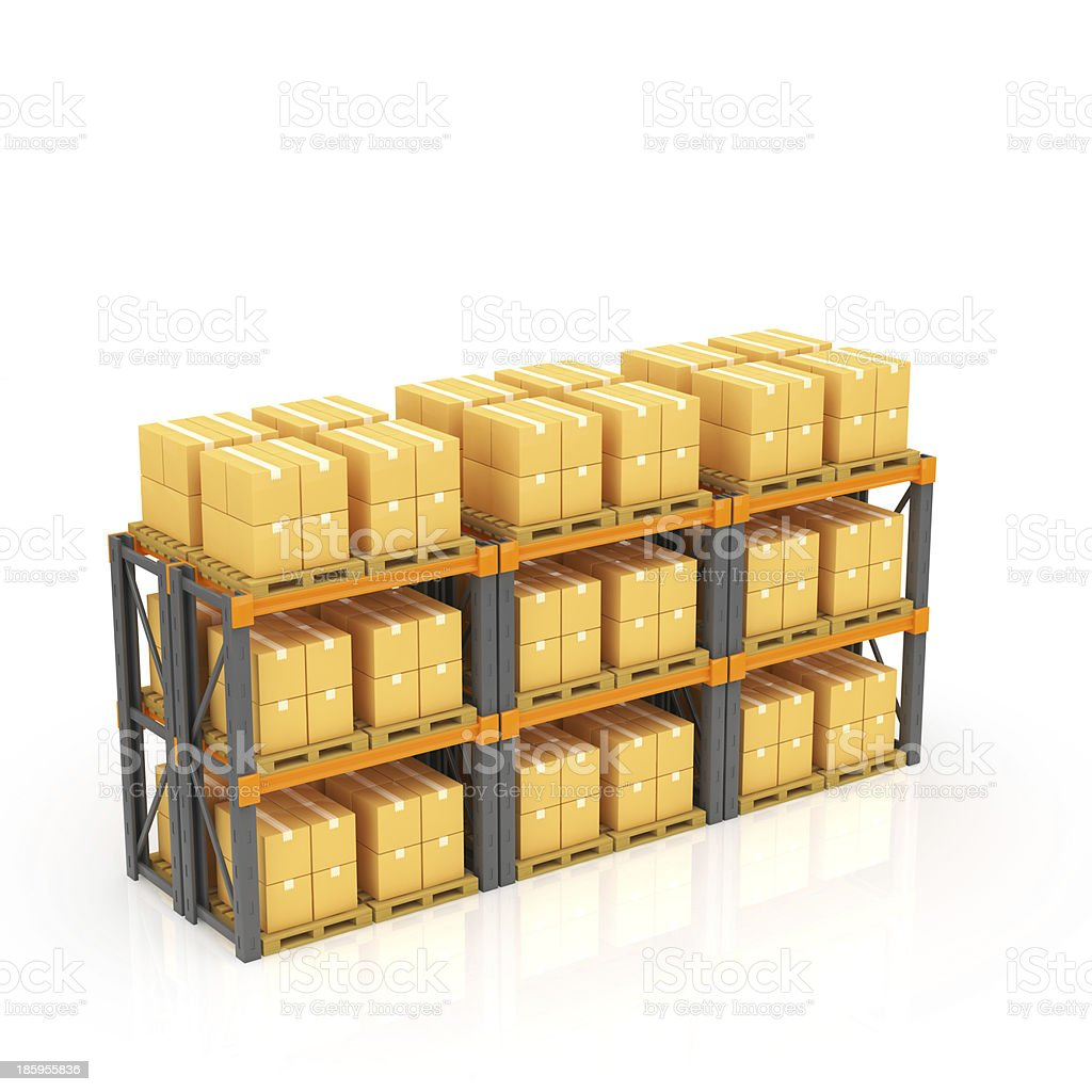 Warehouse with stacked boxes on pallets royalty-free stock photo