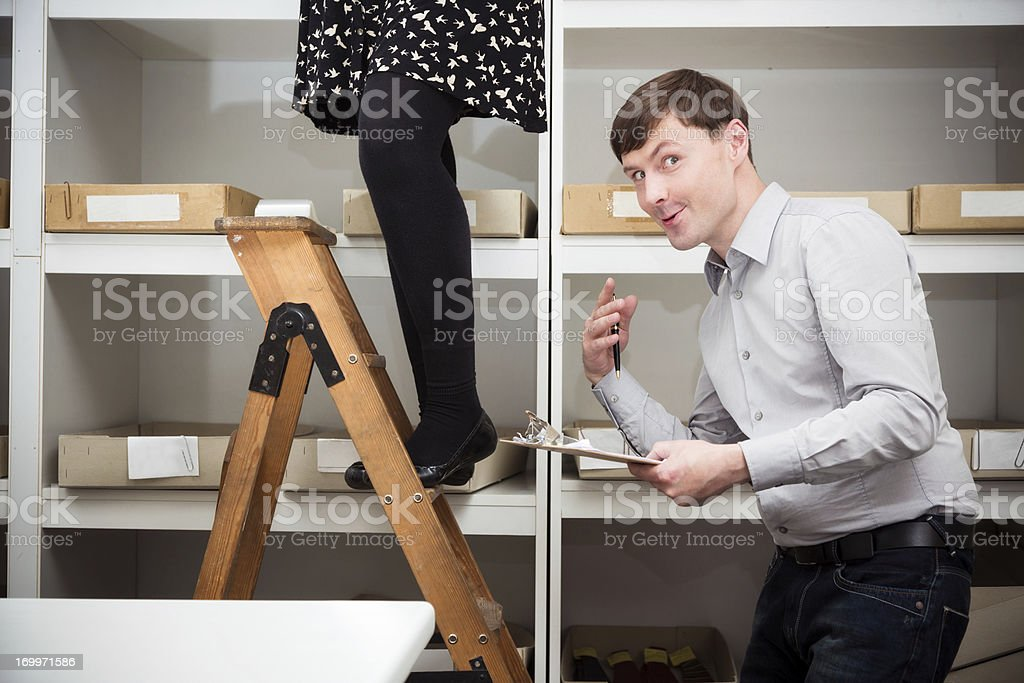 warehouse worker enjoying the view stock photo