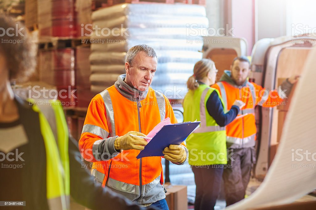 warehouse worker stock photo