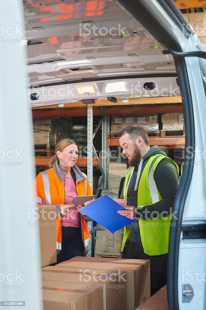 warehouse workers . stock photo