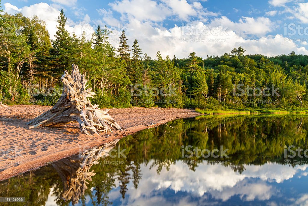 Waren Lake Beach Reflections stock photo
