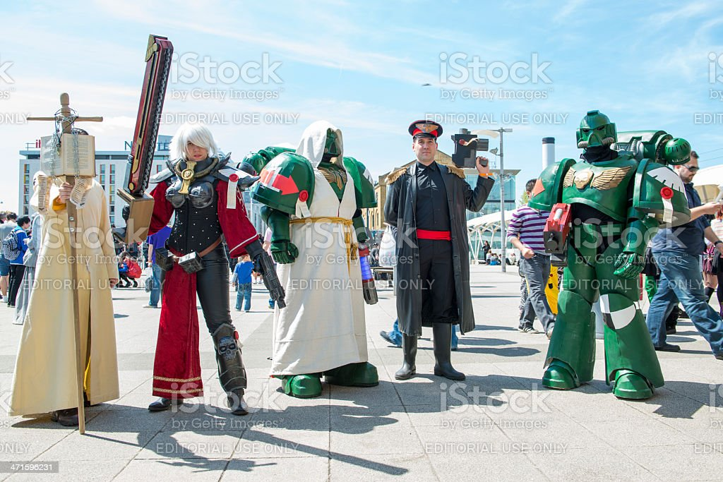 Warhammer cosplayers dressed as space marin stock photo