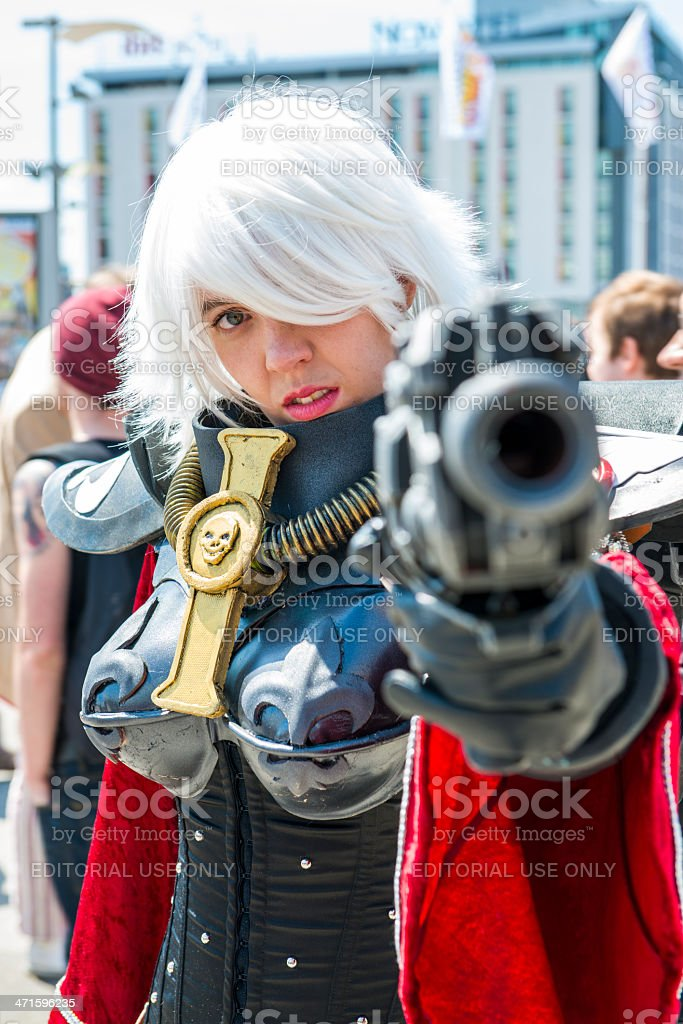 Warhammer Sister of Battle cosplayer pointi stock photo
