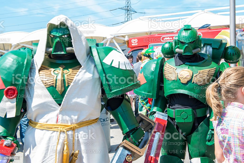 Warhammer space marine cosplayers outside t stock photo