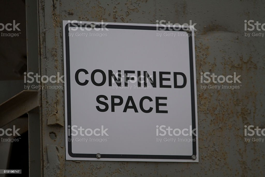 Waring Safety Sign for Confined Space stock photo
