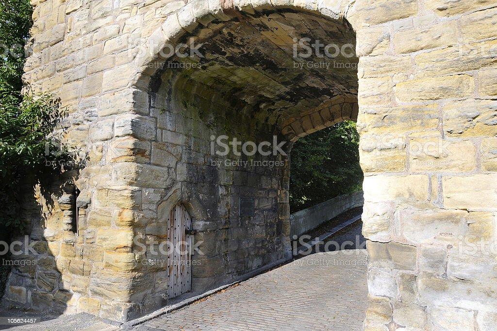 Warkworth bridge and gate stock photo