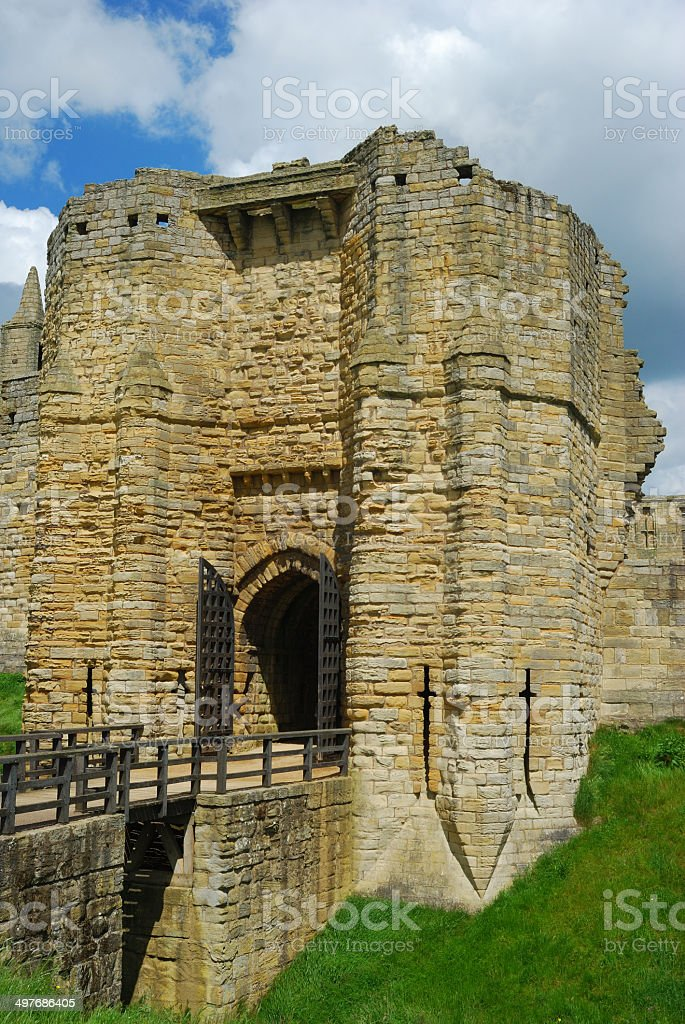 Warkworth Castle entrance tower royalty-free stock photo