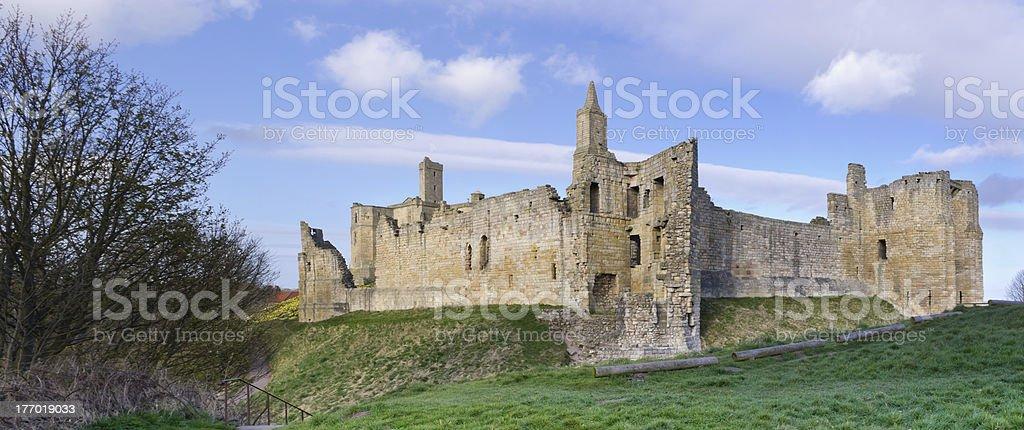 Warkworth Castle panorama stock photo