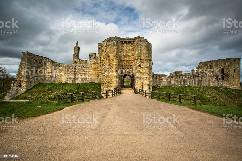 Warkworth Castle stock photo