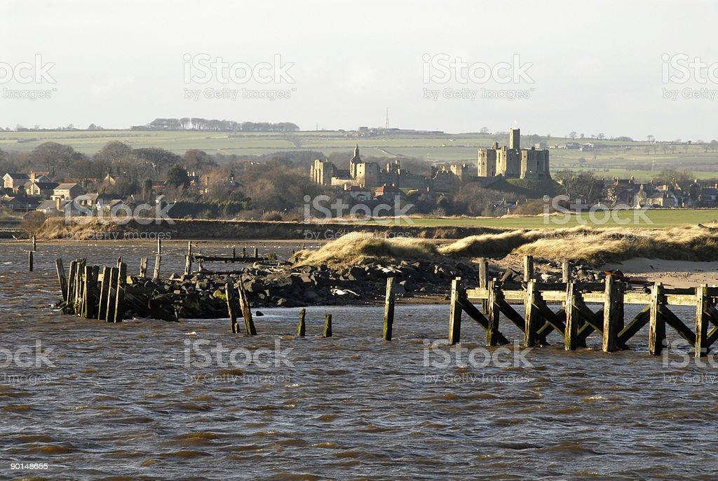 Warkworth Castle & River Coquet stock photo