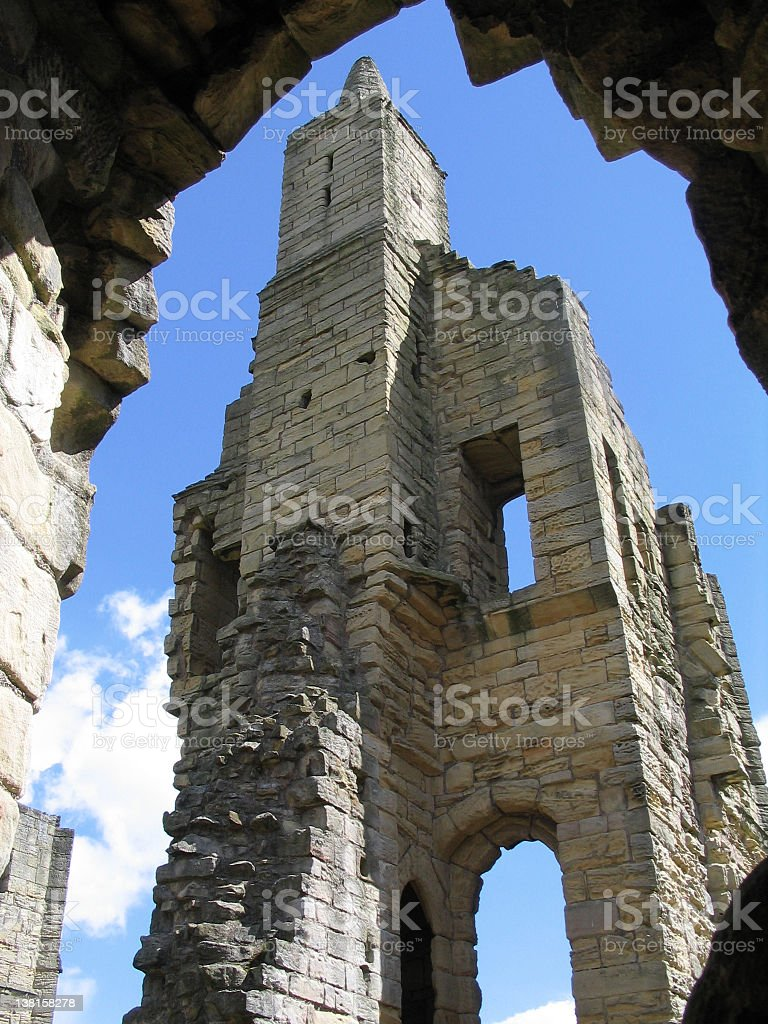 Warkworth Castle Ruins Tower stock photo