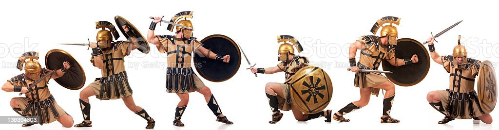 Warlike gladiators stock photo