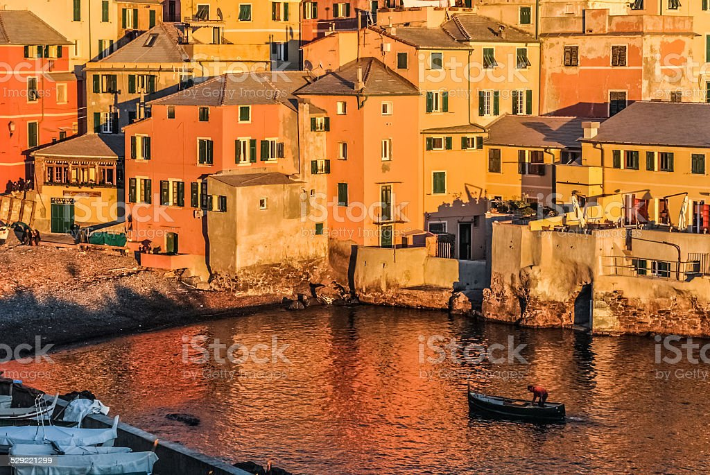 Warm air in Boccadasse, neighborood of Genoa stock photo