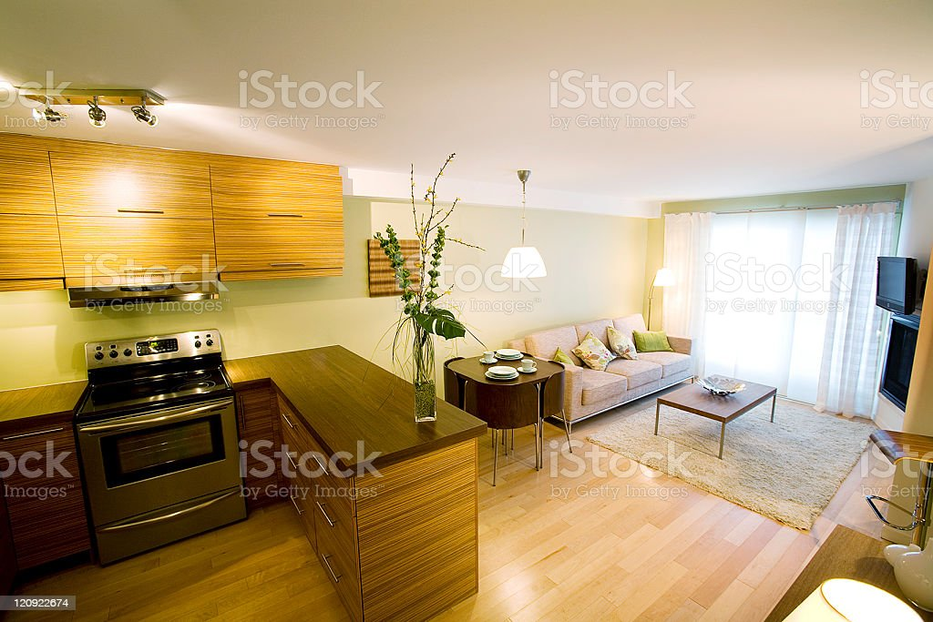 Warm and beat interior design of a new apartment royalty-free stock photo